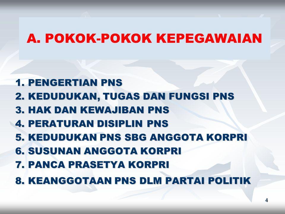 4 A.POKOK-POKOK KEPEGAWAIAN 1. PENGERTIAN PNS 2. KEDUDUKAN, TUGAS DAN FUNGSI PNS 3.