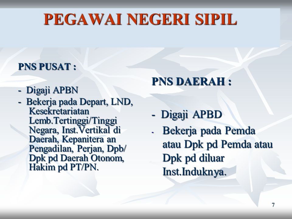 6 PEGAWAI NEGERI terdiri dari : PNS Pusat dan Daerah Anggota TNI Anggota Kepolisian RI PEGAWAI NEGERI terdiri dari : PNS Pusat dan Daerah Anggota TNI