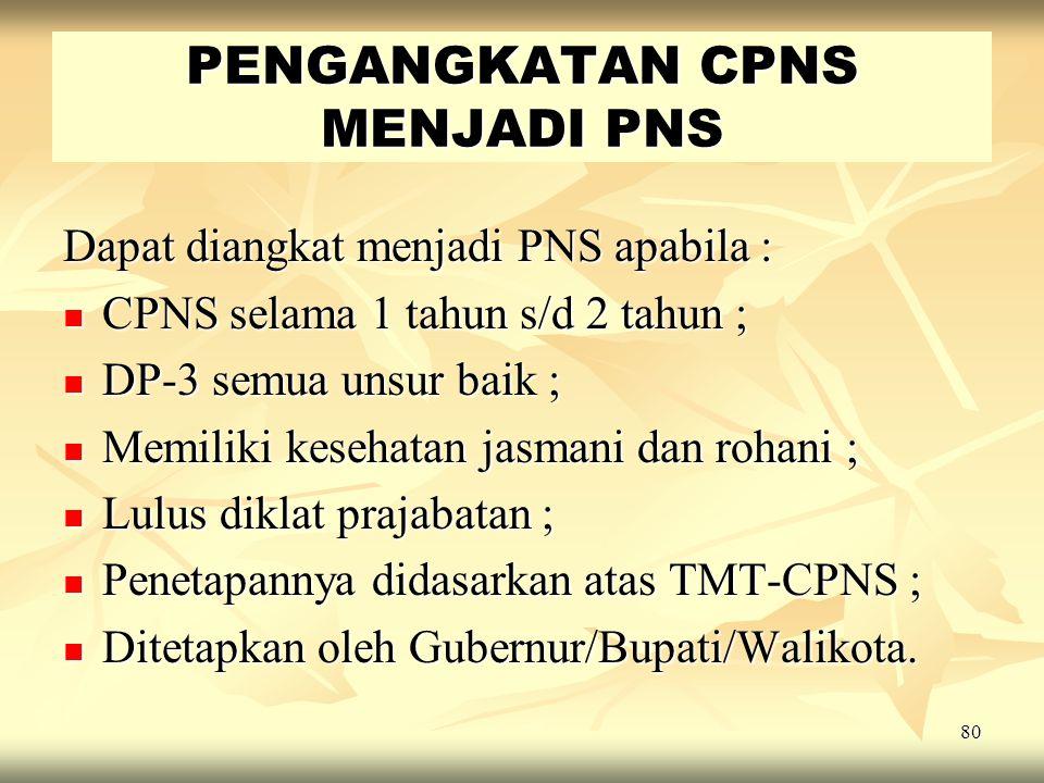 79 CPNS dapat diberhentikan, apabila : CPNS dapat diberhentikan, apabila : - Mengajukan permohonan berhenti ; - Mengajukan permohonan berhenti ; - Tid