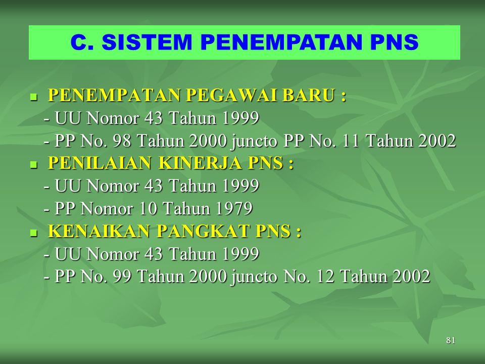 80 PENGANGKATAN CPNS MENJADI PNS Dapat diangkat menjadi PNS apabila : CPNS selama 1 tahun s/d 2 tahun ; CPNS selama 1 tahun s/d 2 tahun ; DP-3 semua u