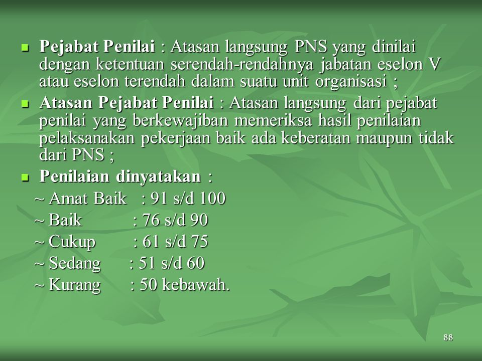 87 ~ Kerjasama : Kemampuan seorang PNS untuk bekerja sama dengan orang lain dalam menyelesaikan suatu tugas yang ditentukan sehingga mencapai daya gun