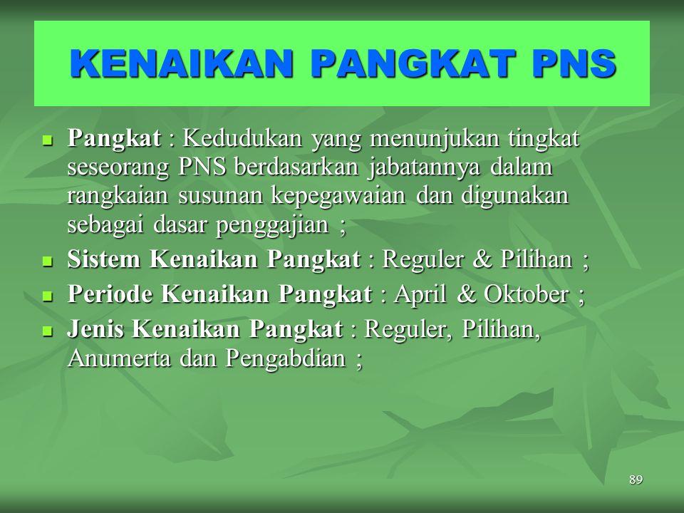 88 Pejabat Penilai : Atasan langsung PNS yang dinilai dengan ketentuan serendah-rendahnya jabatan eselon V atau eselon terendah dalam suatu unit organ