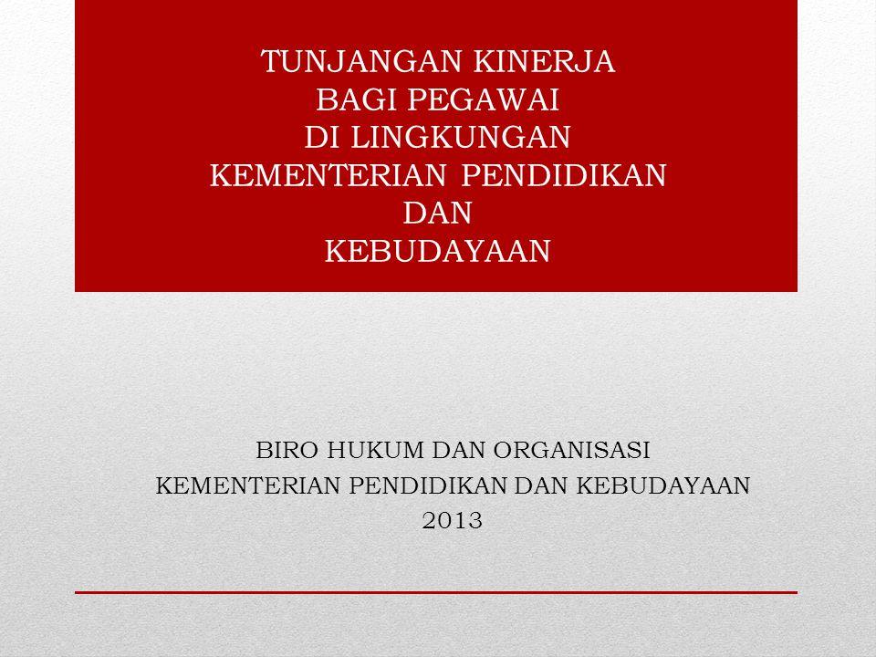 TUNJANGAN KINERJA BAGI PEGAWAI DI LINGKUNGAN KEMENTERIAN PENDIDIKAN DAN KEBUDAYAAN BIRO HUKUM DAN ORGANISASI KEMENTERIAN PENDIDIKAN DAN KEBUDAYAAN 2013