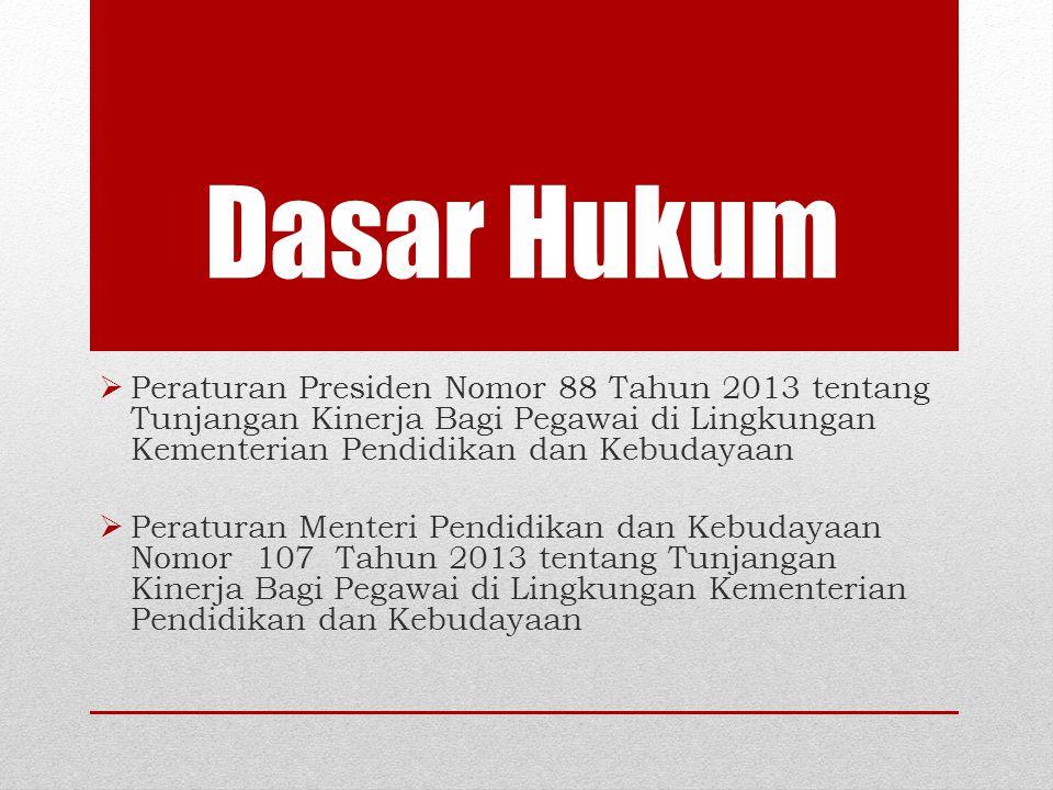 Dasar Hukum  Peraturan Presiden Nomor 88 Tahun 2013 tentang Tunjangan Kinerja Bagi Pegawai di Lingkungan Kementerian Pendidikan dan Kebudayaan  Pera