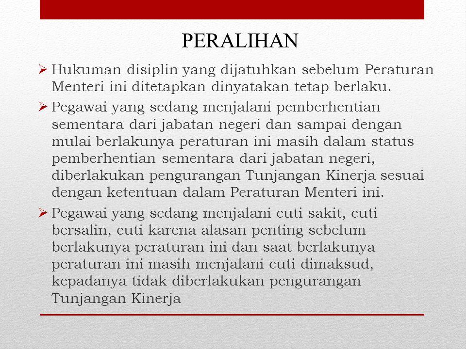 PERALIHAN  Hukuman disiplin yang dijatuhkan sebelum Peraturan Menteri ini ditetapkan dinyatakan tetap berlaku.  Pegawai yang sedang menjalani pember