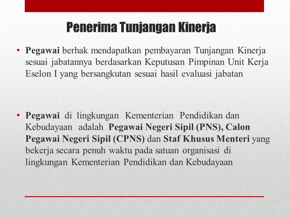 Penerima Tunjangan Kinerja Pegawai berhak mendapatkan pembayaran Tunjangan Kinerja sesuai jabatannya berdasarkan Keputusan Pimpinan Unit Kerja Eselon