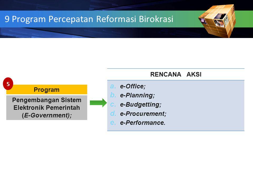 12 9 Program Percepatan Reformasi Birokrasi Program Pengembangan Sistem Elektronik Pemerintah (E-Government); RENCANA AKSI a. e-Office; b. e-Planning;