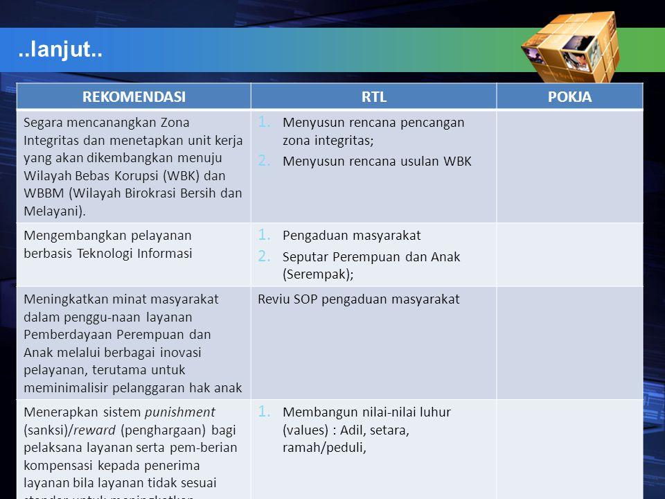 ..lanjut.. REKOMENDASIRTLPOKJA Segara mencanangkan Zona Integritas dan menetapkan unit kerja yang akan dikembangkan menuju Wilayah Bebas Korupsi (WBK)