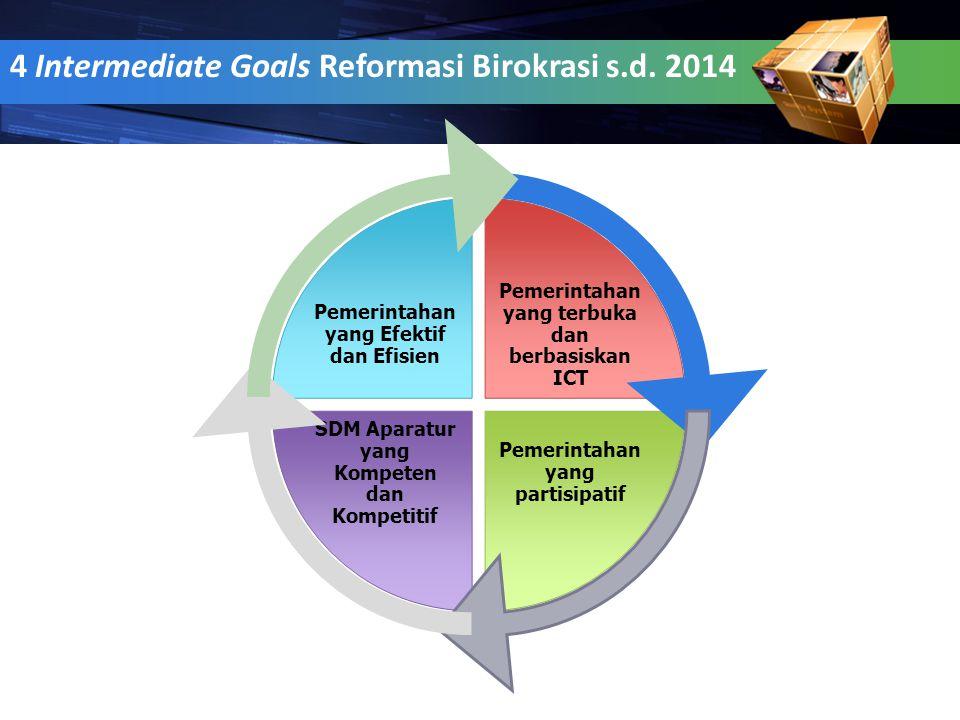 5 4 Intermediate Goals Reformasi Birokrasi s.d. 2014 Pemerintahan yang terbuka dan berbasiskan ICT Pemerintahan yang partisipatif SDM Aparatur yang Ko