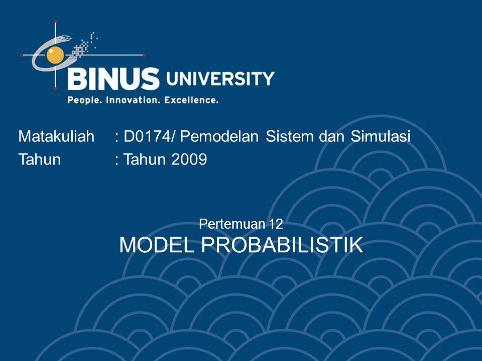 Learning Objectives Terminologi model pobabillistilk Implementasi model probabilistik Studi kasus model probabilistik