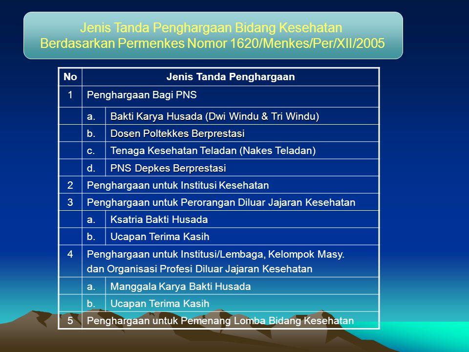 Jenis Tanda Penghargaan Bidang Kesehatan Berdasarkan Permenkes Nomor 1620/Menkes/Per/XII/2005 NoJenis Tanda Penghargaan 1Penghargaan Bagi PNS a.