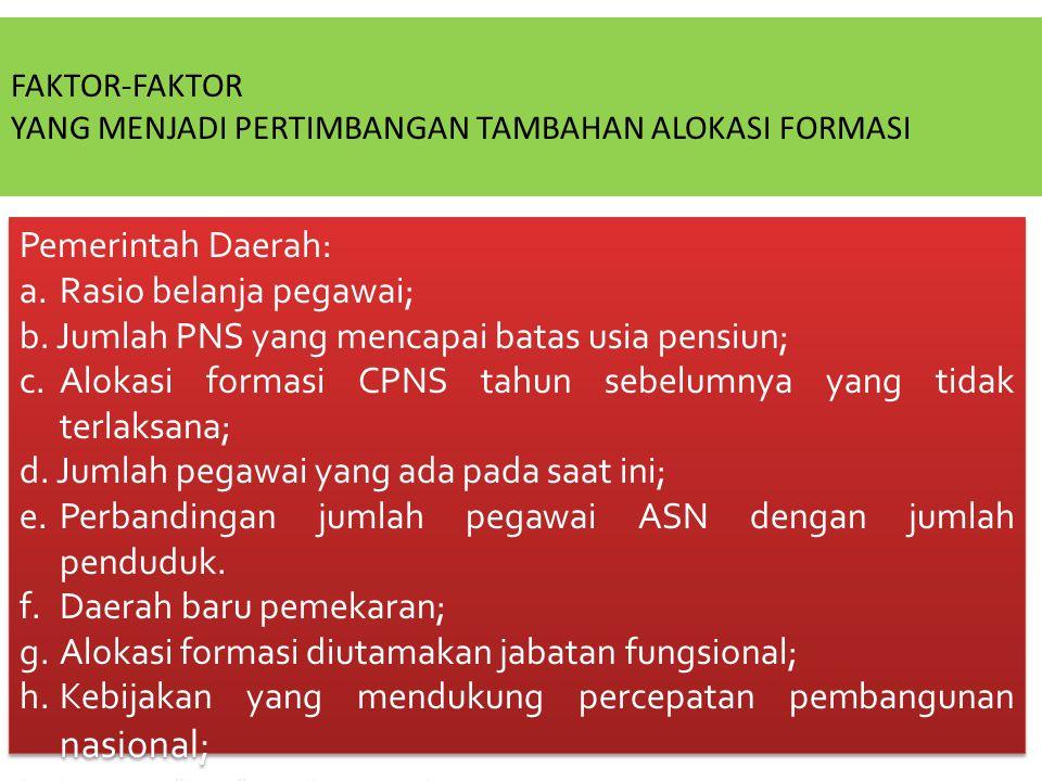 Pemerintah Daerah: a.Rasio belanja pegawai; b.Jumlah PNS yang mencapai batas usia pensiun; c.