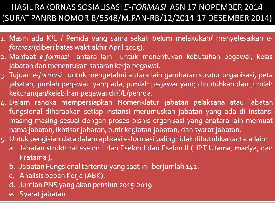 HASIL RAKORNAS SOSIALISASI E-FORMASI ASN 17 NOPEMBER 2014 (SURAT PANRB NOMOR B/5548/M.PAN-RB/12/2014 17 DESEMBER 2014) 1.
