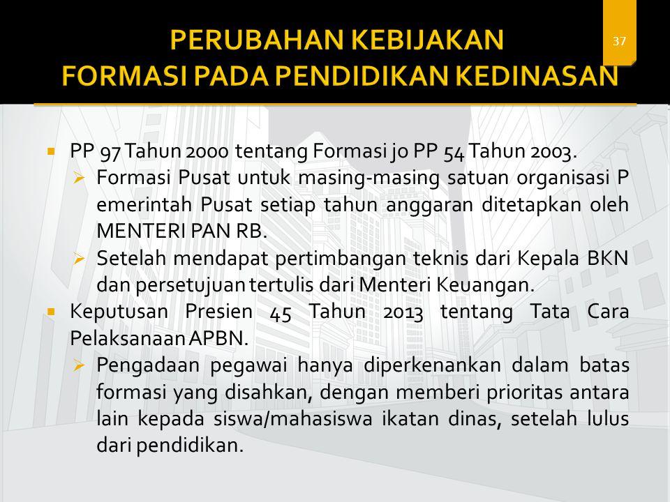 37  PP 97 Tahun 2000 tentang Formasi jo PP 54 Tahun 2003.