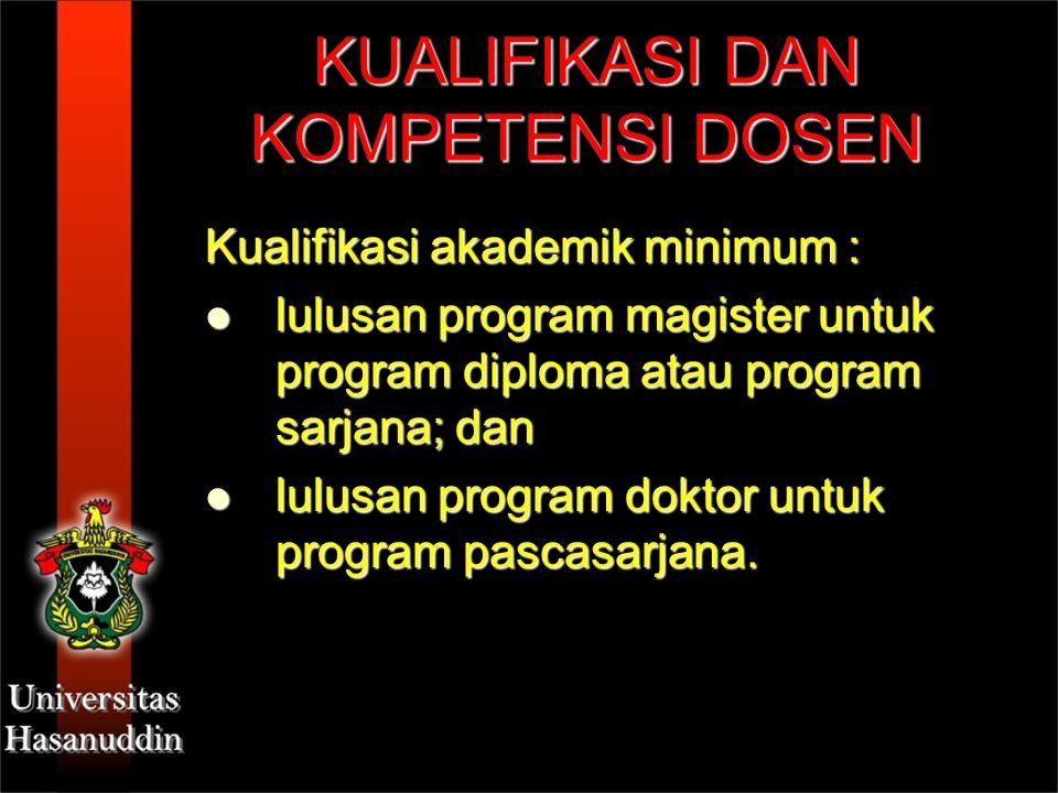 KUALIFIKASI DAN KOMPETENSI DOSEN Kualifikasi akademik minimum : lulusan program magister untuk program diploma atau program sarjana; dan lulusan progr