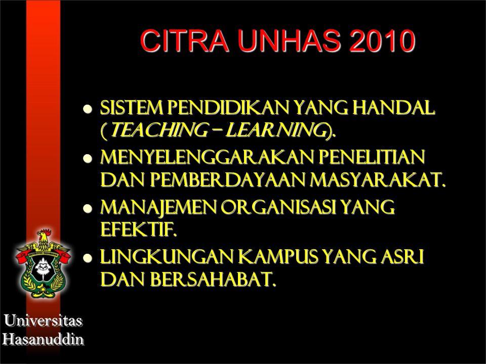 CITRA UNHAS 2010 Sistem Pendidikan yang handal (teaching – learning). Sistem Pendidikan yang handal (teaching – learning). Menyelenggarakan penelitian