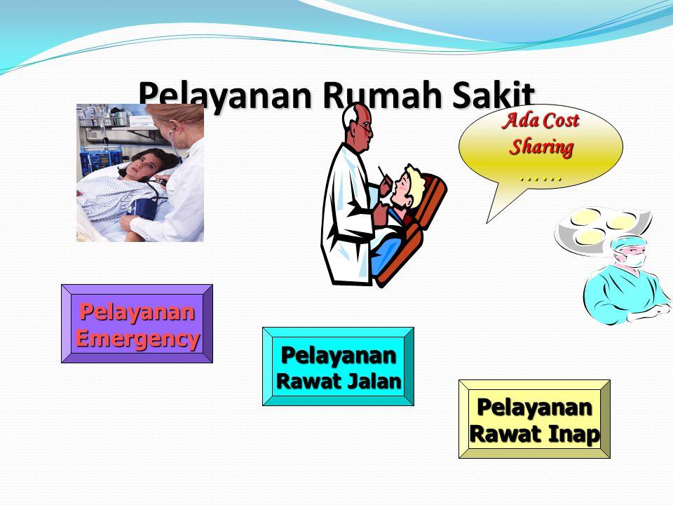 Pelayanan Rumah Sakit PelayananEmergency Pelayanan Rawat Jalan Pelayanan Rawat Inap Ada Cost Sharing ……