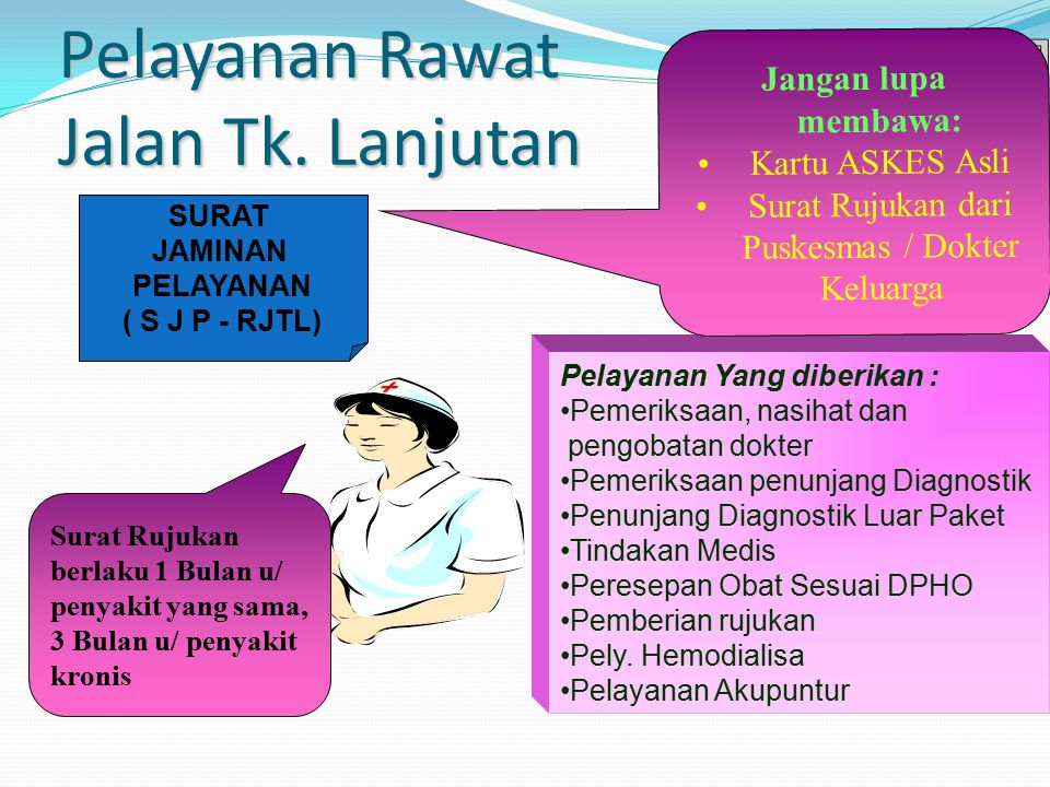 Pelayanan Rawat Jalan Tk. Lanjutan Surat Rujukan berlaku 1 Bulan u/ penyakit yang sama, 3 Bulan u/ penyakit kronis Pelayanan Yang diberikan : Pemeriks