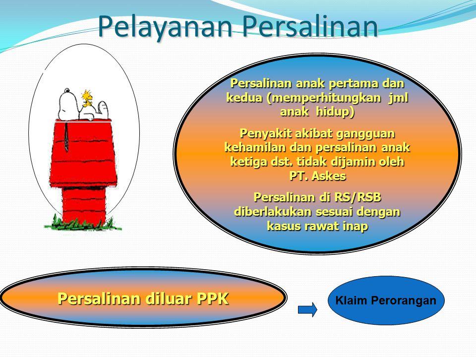 Pelayanan Persalinan Persalinan anak pertama dan kedua (memperhitungkan jml anak hidup) Penyakit akibat gangguan kehamilan dan persalinan anak ketiga dst.