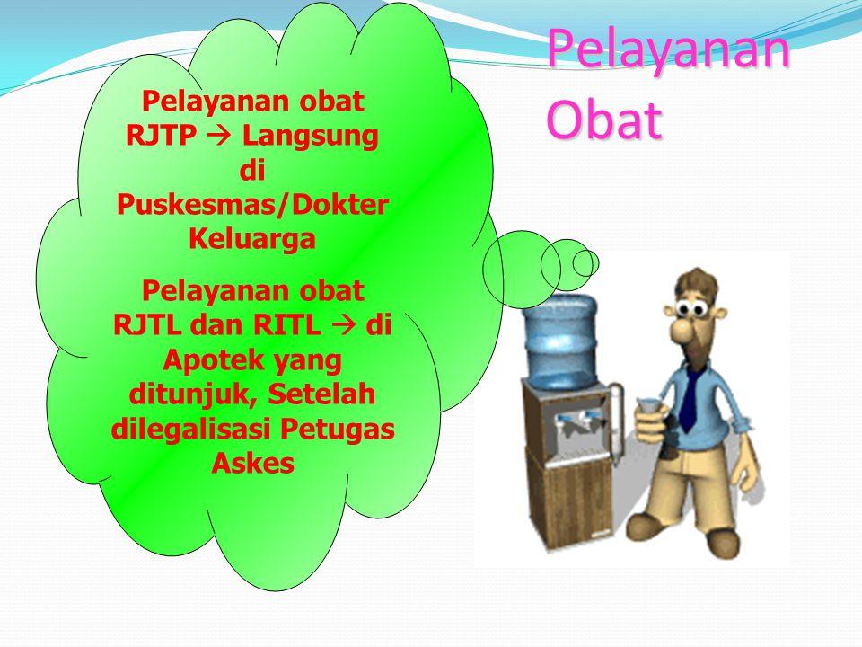 Pelayanan Obat Pelayanan obat RJTP  Langsung di Puskesmas/Dokter Keluarga Pelayanan obat RJTL dan RITL  di Apotek yang ditunjuk, Setelah dilegalisasi Petugas Askes