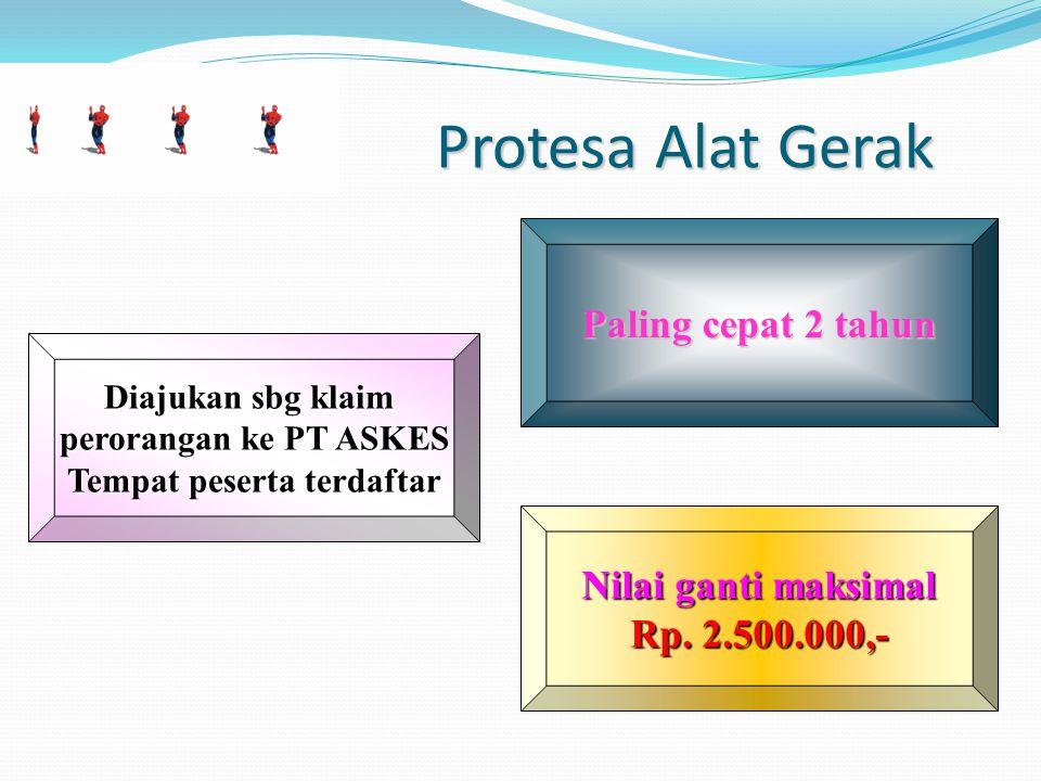 Protesa Alat Gerak Protesa Alat Gerak Paling cepat 2 tahun Nilai ganti maksimal Rp.