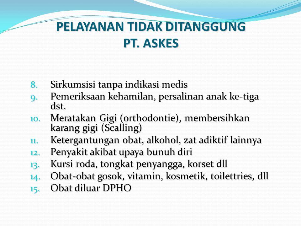 PELAYANAN TIDAK DITANGGUNG PT. ASKES 8. Sirkumsisi tanpa indikasi medis 9. Pemeriksaan kehamilan, persalinan anak ke-tiga dst. 10. Meratakan Gigi (ort
