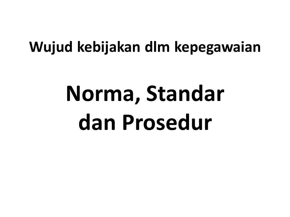Wujud kebijakan dlm kepegawaian Norma, Standar dan Prosedur