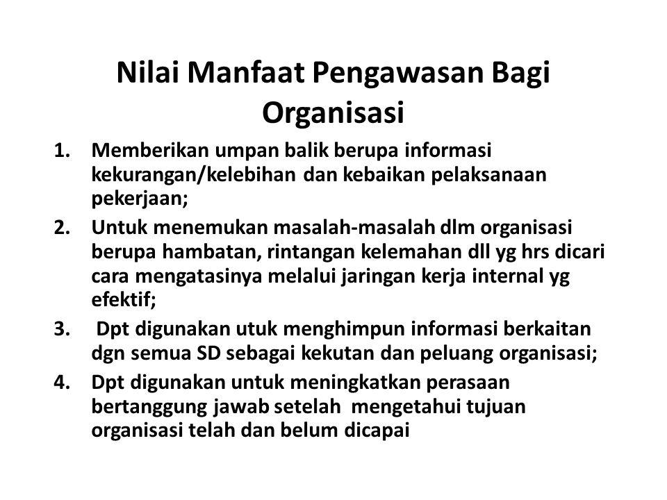 Nilai Manfaat Pengawasan Bagi Organisasi 1.Memberikan umpan balik berupa informasi kekurangan/kelebihan dan kebaikan pelaksanaan pekerjaan; 2.Untuk me