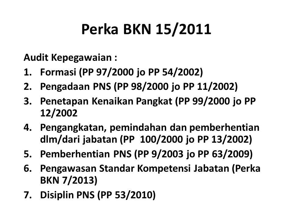 Perka BKN 15/2011 Audit Kepegawaian : 1.Formasi (PP 97/2000 jo PP 54/2002) 2.Pengadaan PNS (PP 98/2000 jo PP 11/2002) 3.Penetapan Kenaikan Pangkat (PP 99/2000 jo PP 12/2002 4.Pengangkatan, pemindahan dan pemberhentian dlm/dari jabatan (PP 100/2000 jo PP 13/2002) 5.Pemberhentian PNS (PP 9/2003 jo PP 63/2009) 6.Pengawasan Standar Kompetensi Jabatan (Perka BKN 7/2013) 7.Disiplin PNS (PP 53/2010)