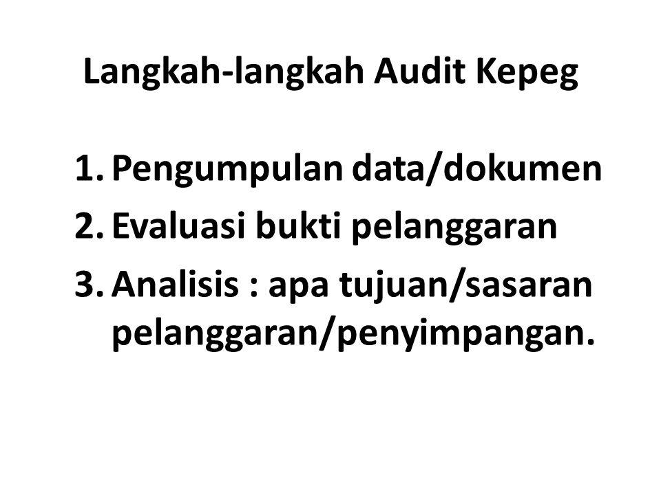 Langkah-langkah Audit Kepeg 1.Pengumpulan data/dokumen 2.Evaluasi bukti pelanggaran 3.Analisis : apa tujuan/sasaran pelanggaran/penyimpangan.