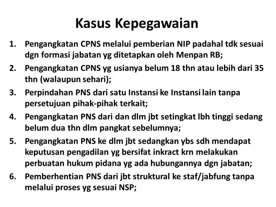Kasus Kepegawaian 1.Pengangkatan CPNS melalui pemberian NIP padahal tdk sesuai dgn formasi jabatan yg ditetapkan oleh Menpan RB; 2.Pengangkatan CPNS y