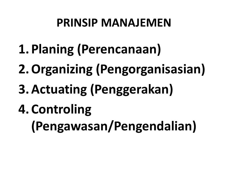 PRINSIP MANAJEMEN 1.Planing (Perencanaan) 2.Organizing (Pengorganisasian) 3.Actuating (Penggerakan) 4.Controling (Pengawasan/Pengendalian)