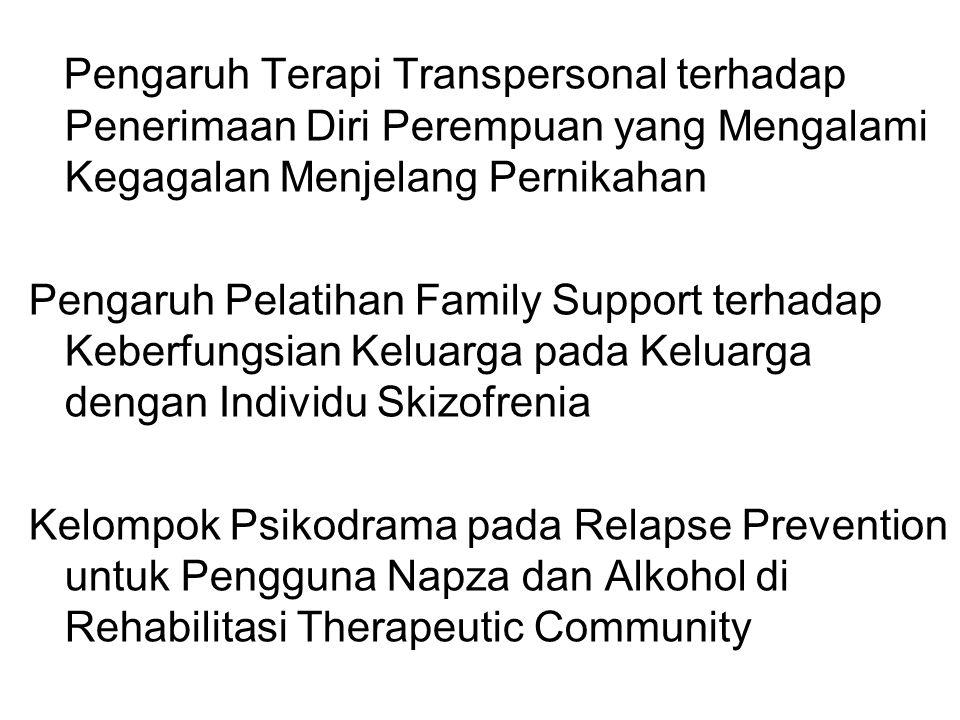 Pengaruh Terapi Transpersonal terhadap Penerimaan Diri Perempuan yang Mengalami Kegagalan Menjelang Pernikahan Pengaruh Pelatihan Family Support terhadap Keberfungsian Keluarga pada Keluarga dengan Individu Skizofrenia Kelompok Psikodrama pada Relapse Prevention untuk Pengguna Napza dan Alkohol di Rehabilitasi Therapeutic Community