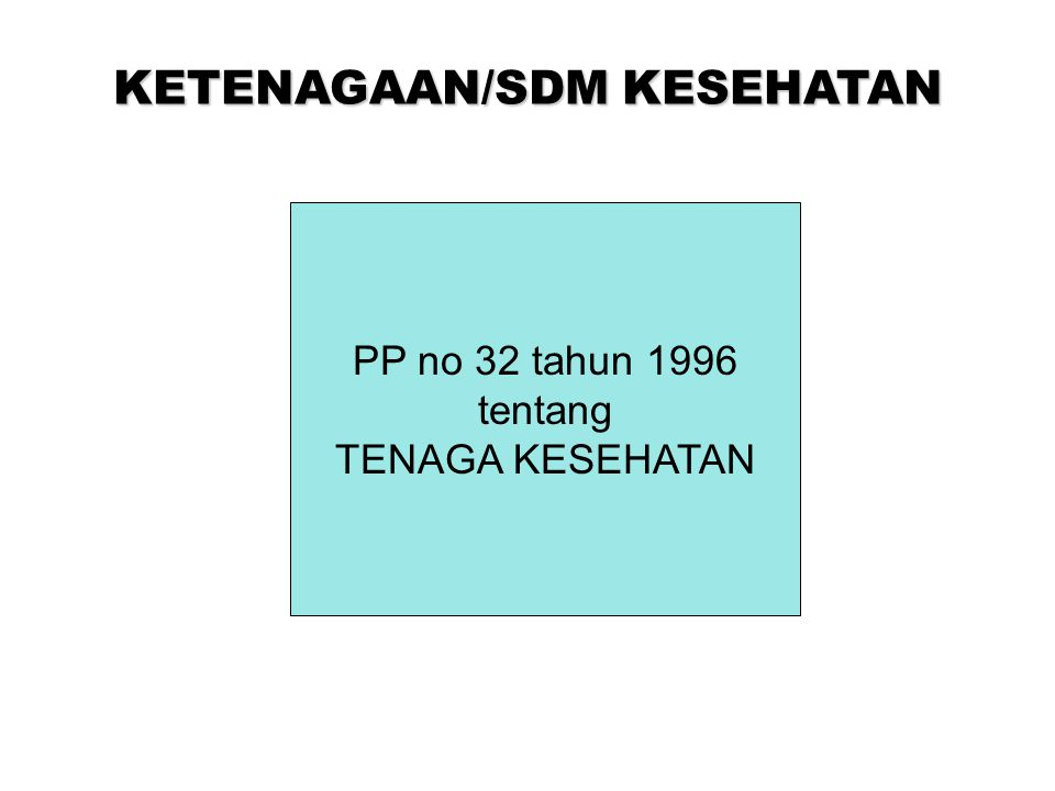 KETENAGAAN/SDM KESEHATAN PP no 32 tahun 1996 tentang TENAGA KESEHATAN