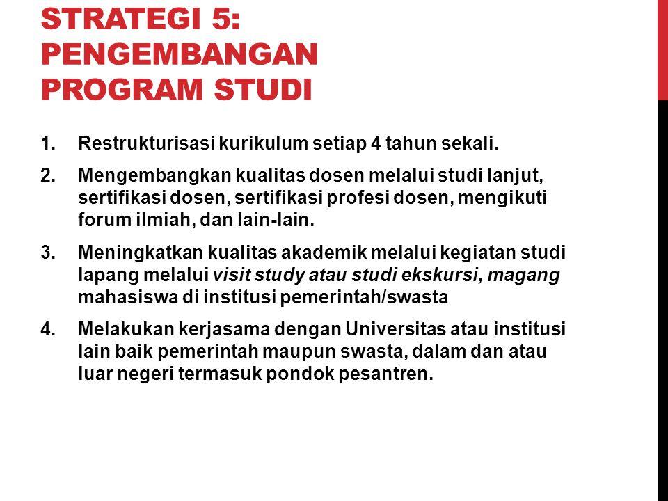 STRATEGI 5: PENGEMBANGAN PROGRAM STUDI 1.Restrukturisasi kurikulum setiap 4 tahun sekali. 2.Mengembangkan kualitas dosen melalui studi lanjut, sertifi