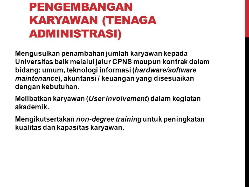 STRATEGI 6: PENGEMBANGAN KARYAWAN (TENAGA ADMINISTRASI) Mengusulkan penambahan jumlah karyawan kepada Universitas baik melalui jalur CPNS maupun kontr