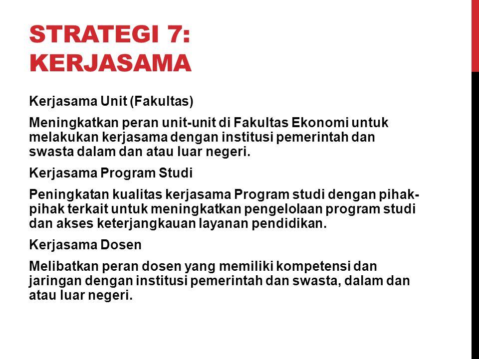 STRATEGI 7: KERJASAMA Kerjasama Unit (Fakultas) Meningkatkan peran unit-unit di Fakultas Ekonomi untuk melakukan kerjasama dengan institusi pemerintah