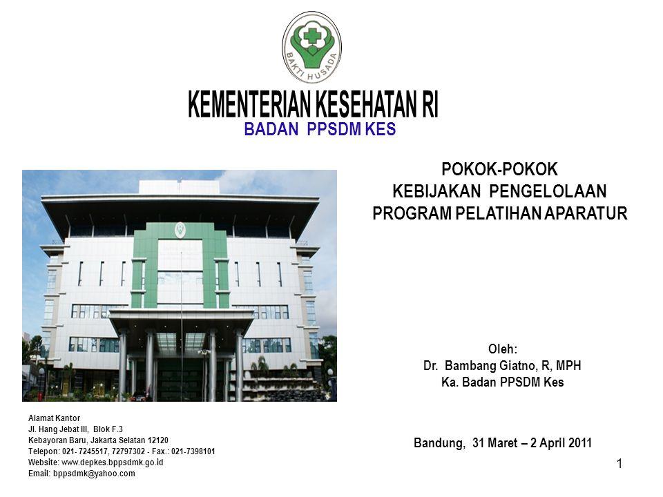 BADAN PPSDM KES Alamat Kantor Jl. Hang Jebat III, Blok F.3 Kebayoran Baru, Jakarta Selatan 12120 Telepon: 021- 7245517, 72797302 - Fax.: 021-7398101 W