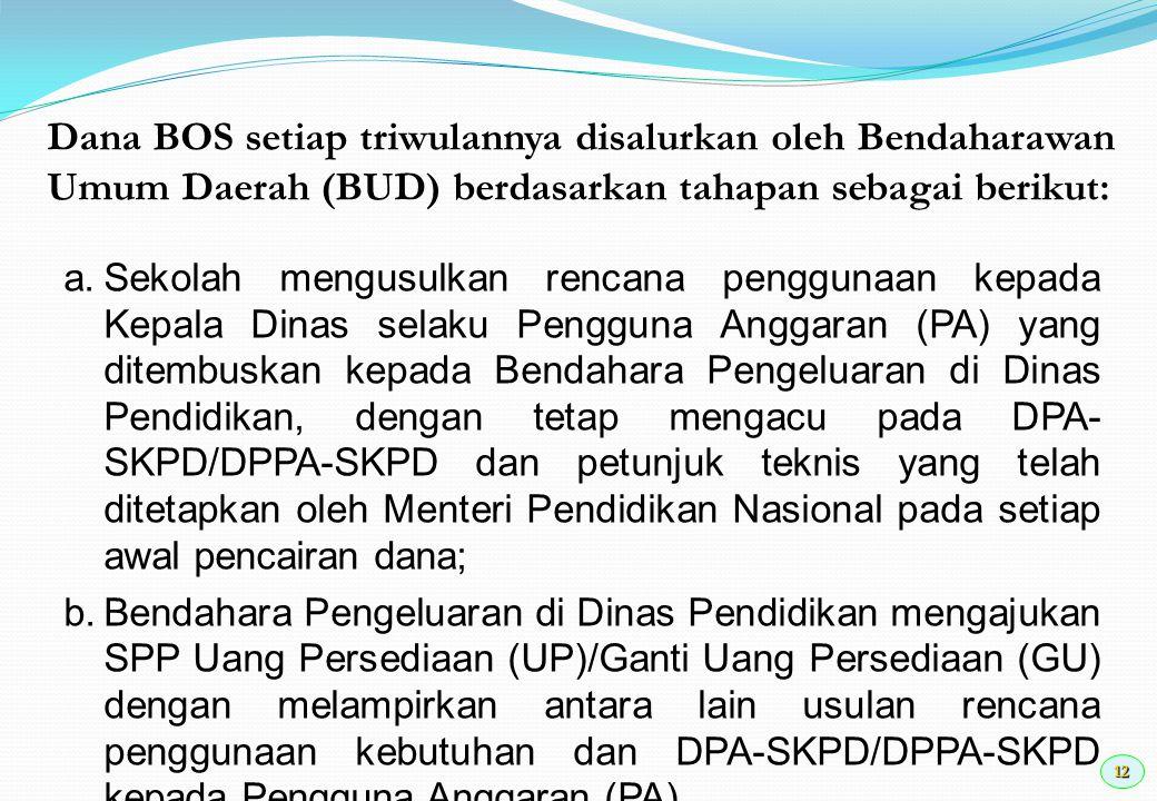 13 c.Bendahara Umum Daerah (BUD) menerbitkan SP2D berdasarkan SPM yang diterbitkan oleh Pengguna Anggaran.