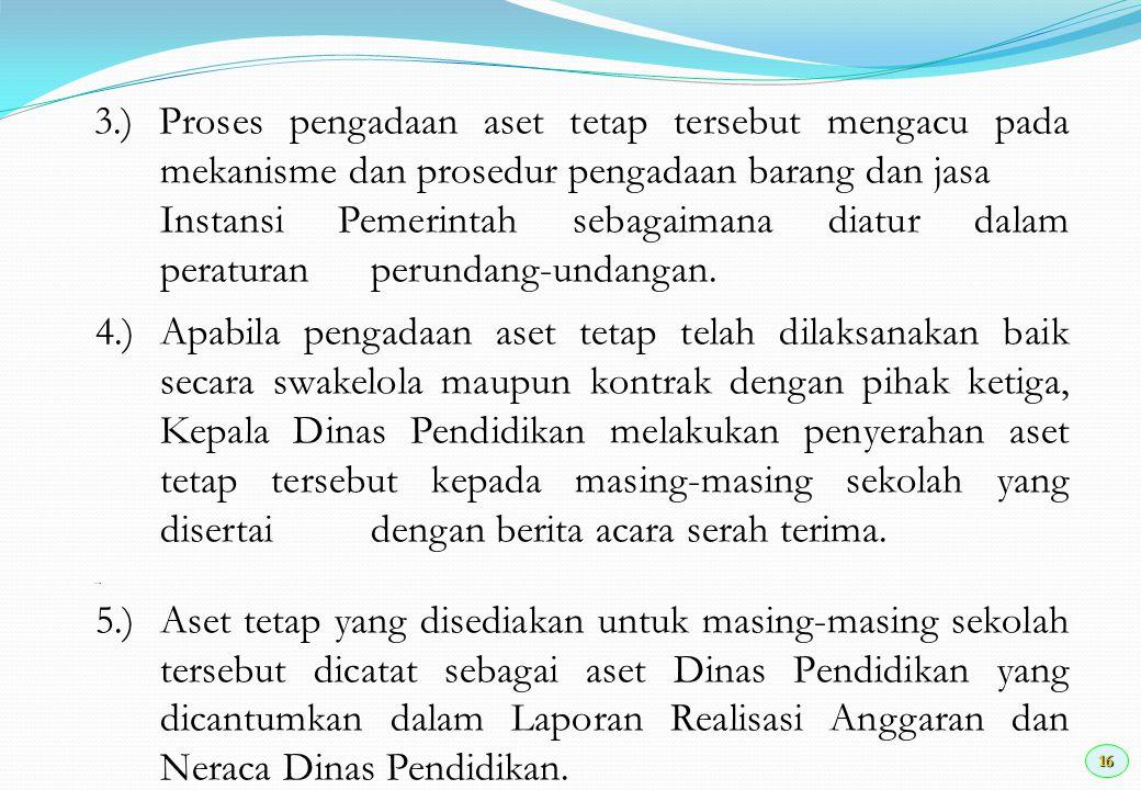 16 3.) Proses pengadaan aset tetap tersebut mengacu pada mekanisme dan prosedur pengadaan barang dan jasa Instansi Pemerintah sebagaimana diatur dalam