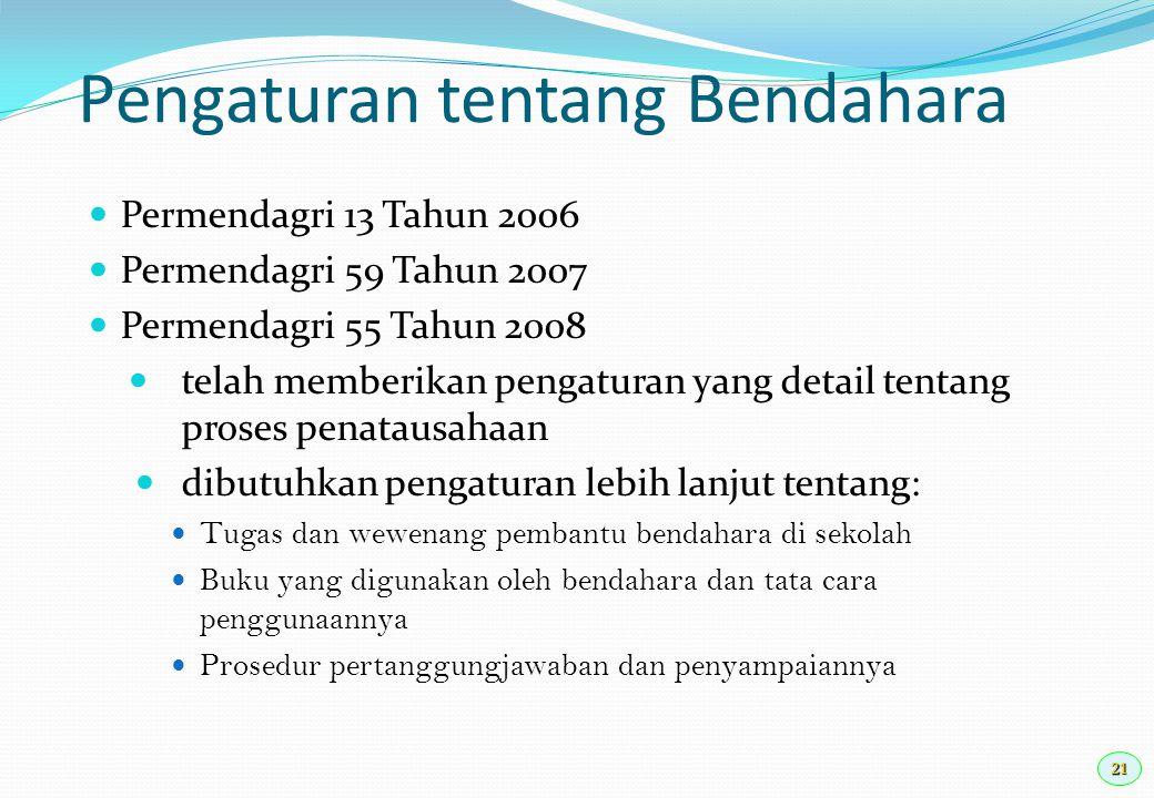 21 Pengaturan tentang Bendahara Permendagri 13 Tahun 2006 Permendagri 59 Tahun 2007 Permendagri 55 Tahun 2008 telah memberikan pengaturan yang detail