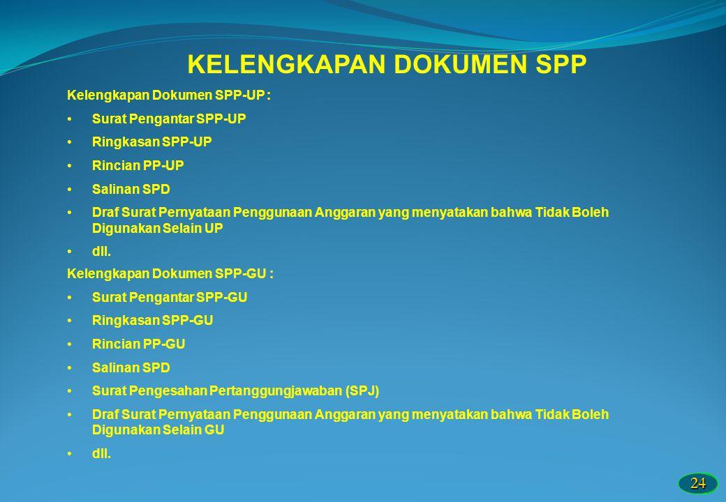 2424 KELENGKAPAN DOKUMEN SPP Kelengkapan Dokumen SPP-UP : Surat Pengantar SPP-UP Ringkasan SPP-UP Rincian PP-UP Salinan SPD Draf Surat Pernyataan Peng