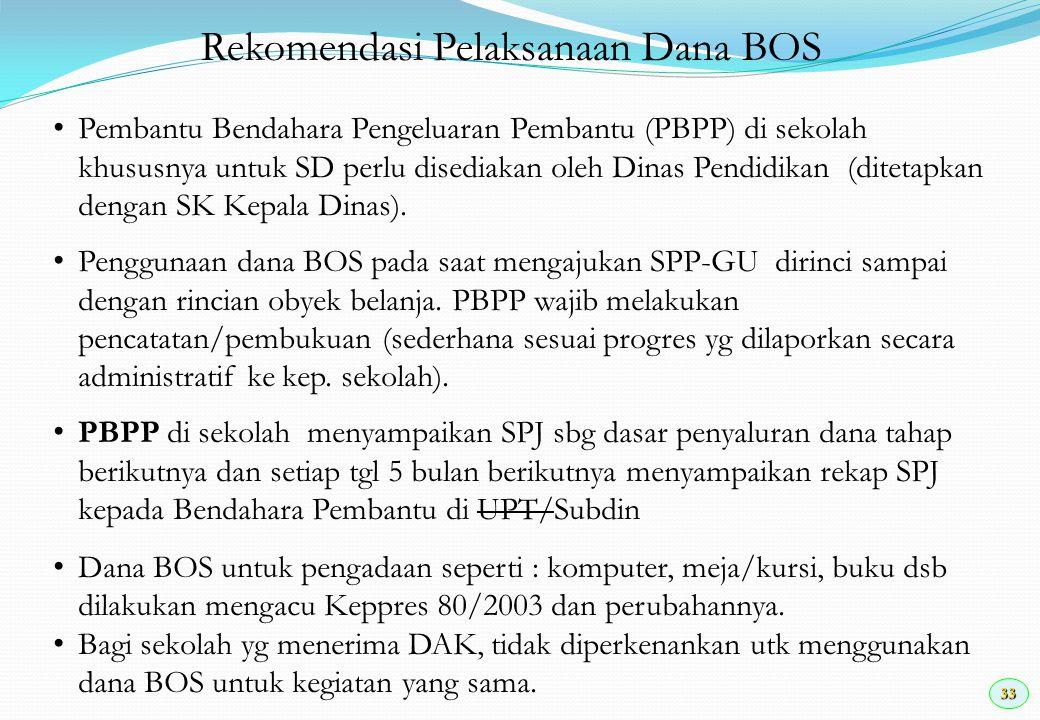 33 Rekomendasi Pelaksanaan Dana BOS Pembantu Bendahara Pengeluaran Pembantu (PBPP) di sekolah khususnya untuk SD perlu disediakan oleh Dinas Pendidika