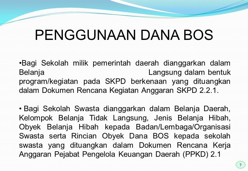 7 PENGGUNAAN DANA BOS Bagi Sekolah milik pemerintah daerah dianggarkan dalam Belanja Langsung dalam bentuk program/kegiatan pada SKPD berkenaan yang d