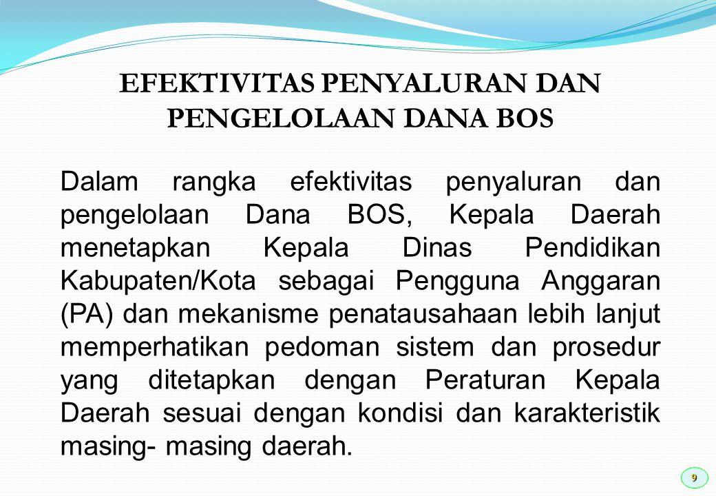 9 Dalam rangka efektivitas penyaluran dan pengelolaan Dana BOS, Kepala Daerah menetapkan Kepala Dinas Pendidikan Kabupaten/Kota sebagai Pengguna Angga