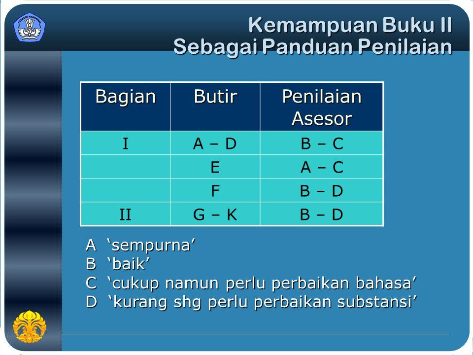 Kemampuan Buku II Sebagai Panduan Penilaian BagianButir Penilaian Asesor IA – DB – C EA – C FB – D IIG – KB – D A 'sempurna' B 'baik' C 'cukup namun p