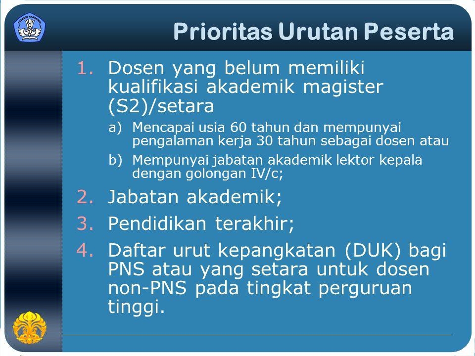 Prioritas Urutan Peserta 1.Dosen yang belum memiliki kualifikasi akademik magister (S2)/setara a)Mencapai usia 60 tahun dan mempunyai pengalaman kerja