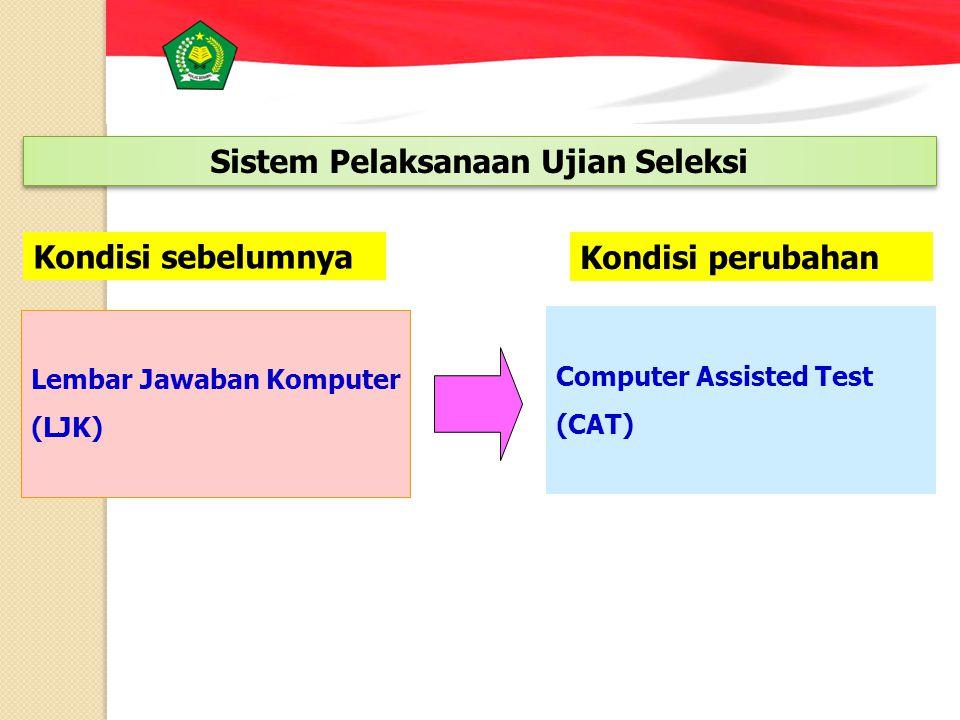Lembar Jawaban Komputer (LJK) Computer Assisted Test (CAT) Kondisi sebelumnya Kondisi perubahan Sistem Pelaksanaan Ujian Seleksi