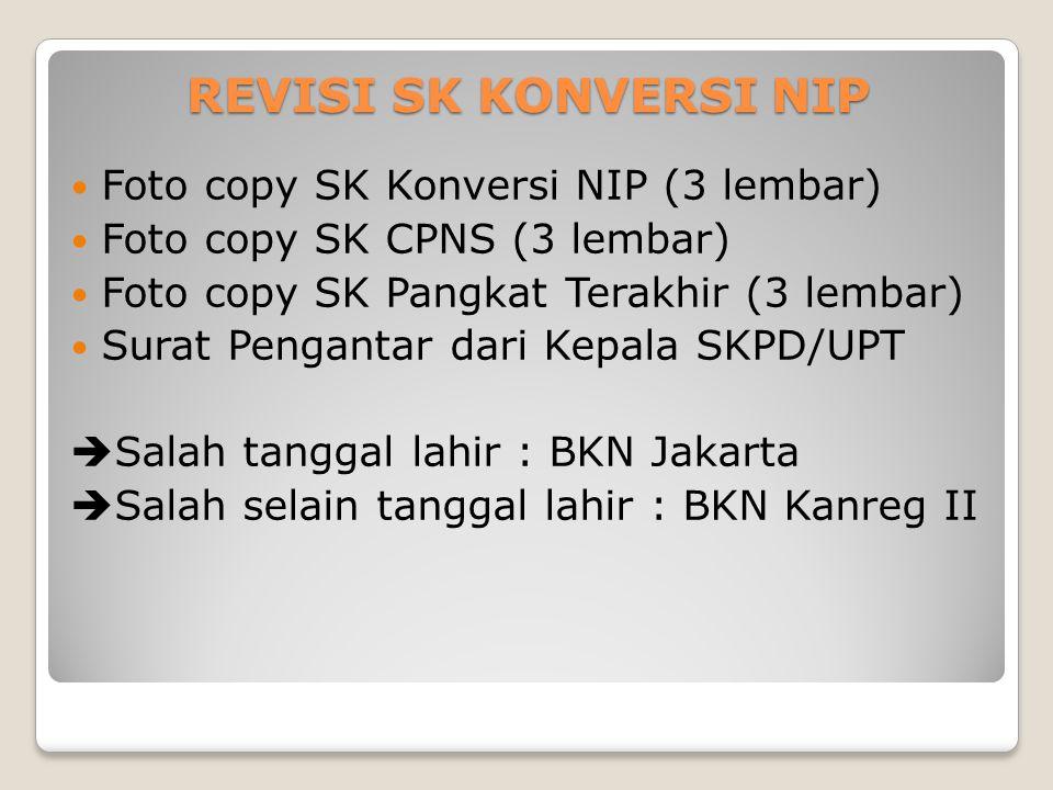 REVISI SK KONVERSI NIP Foto copy SK Konversi NIP (3 lembar) Foto copy SK CPNS (3 lembar) Foto copy SK Pangkat Terakhir (3 lembar) Surat Pengantar dari