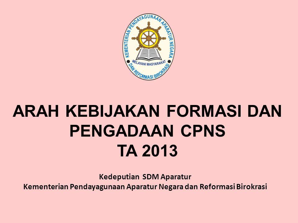 ARAH KEBIJAKAN FORMASI DAN PENGADAAN CPNS TA 2013 Kedeputian SDM Aparatur Kementerian Pendayagunaan Aparatur Negara dan Reformasi Birokrasi